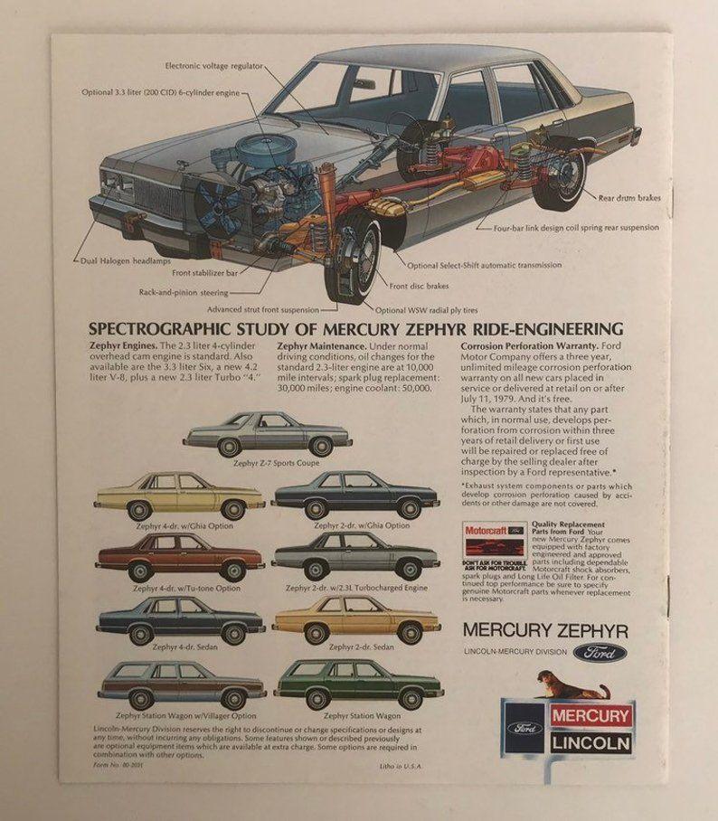 1980 Mercury Zephyr Car Dealer Brochure 1980s Auto Vintage