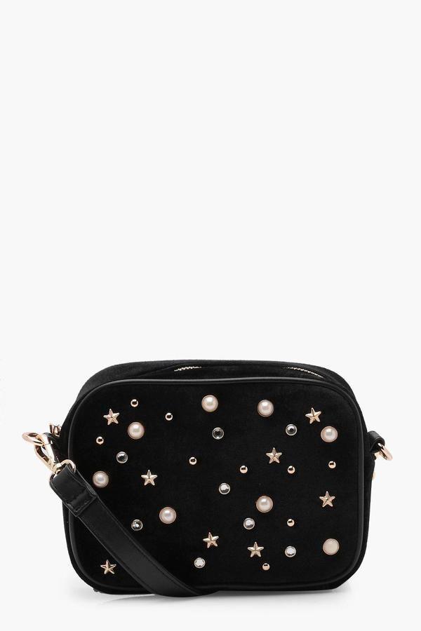 9485fbe77434 boohoo Leah Pearl and Star Camera Cross Body Bag