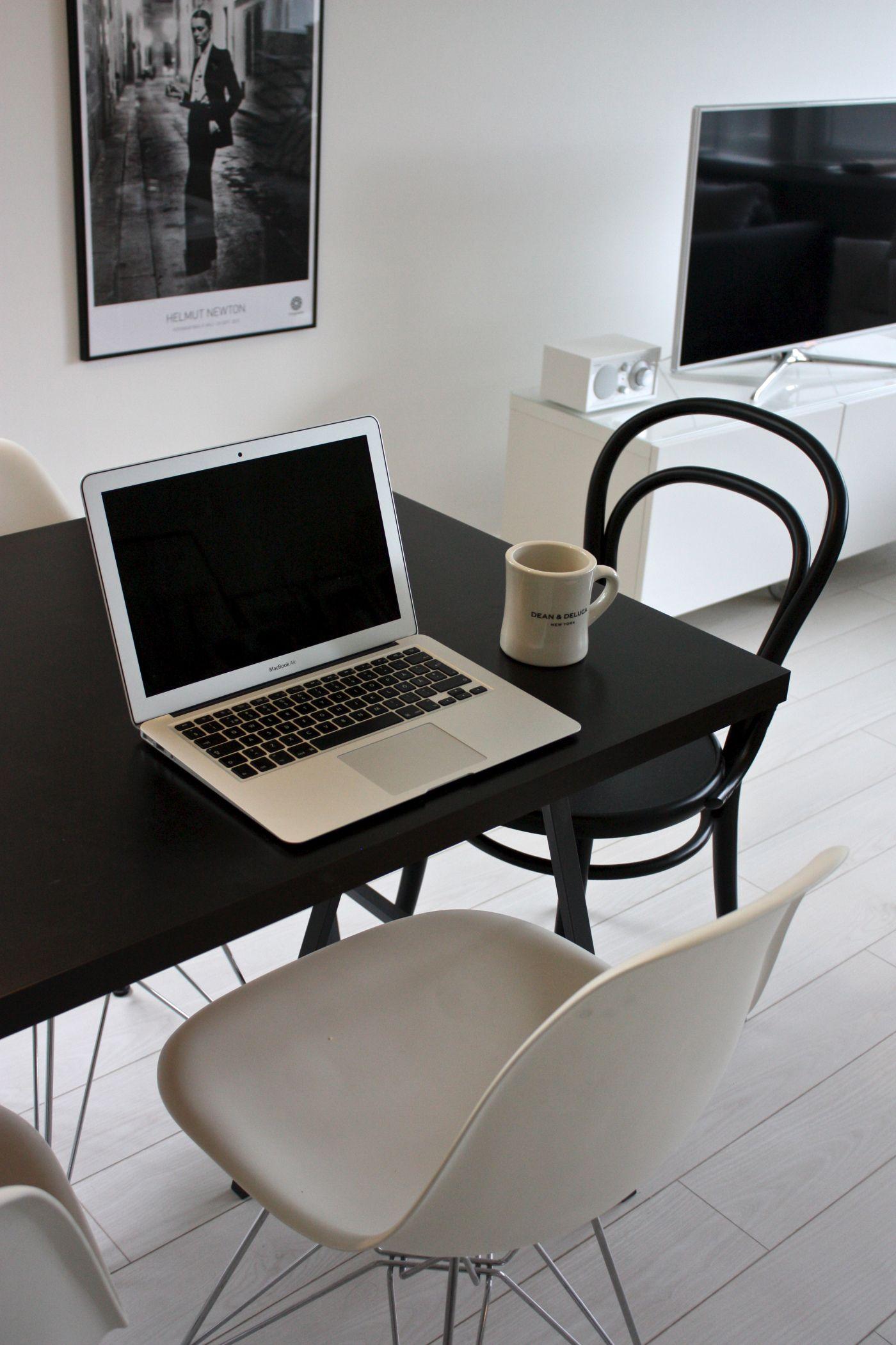 homevialaura | black dining table | Eames DSR | TON Chair 14 | MacBook Air | Tivoli Audio | Samsung TV
