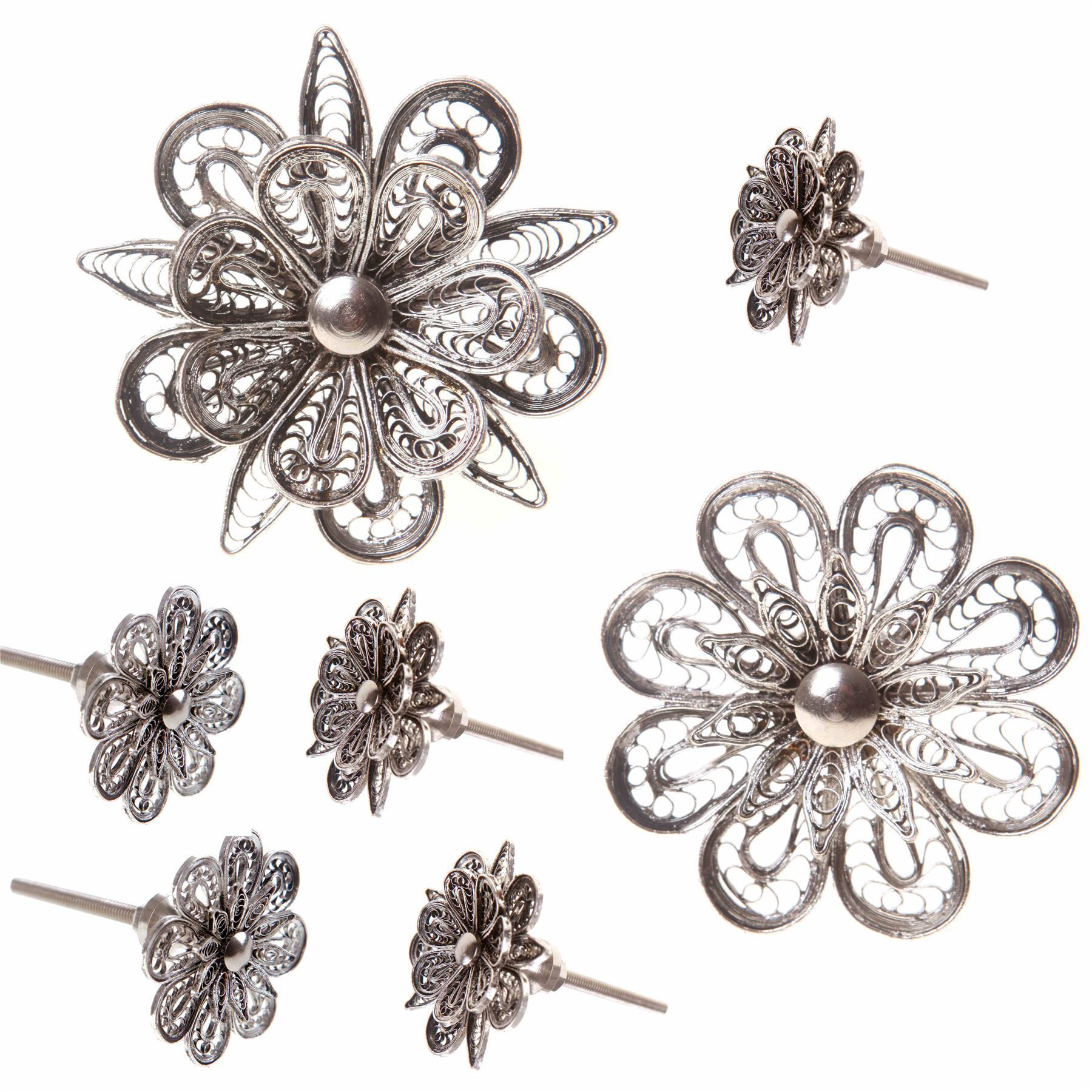 VINTAGE DOOR KNOBS ORNATE SILVER FLOWER SHAPED METAL DRAWER PULLS ...