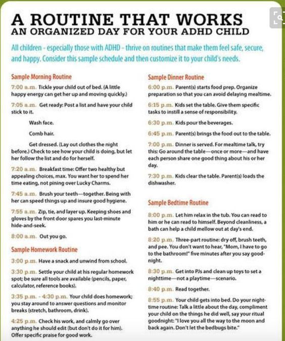 The ADHD Witching Hour Surviving the After-School Medication Crash - sample schedules