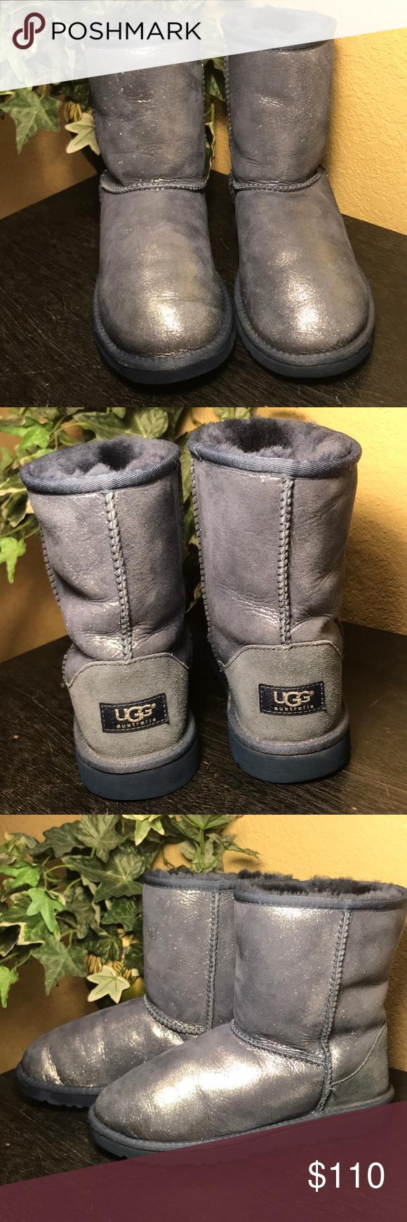 8a3392a90b7 UGG Blue Metallic Sparkle Classic Short Boots UGG Blue Metallic ...