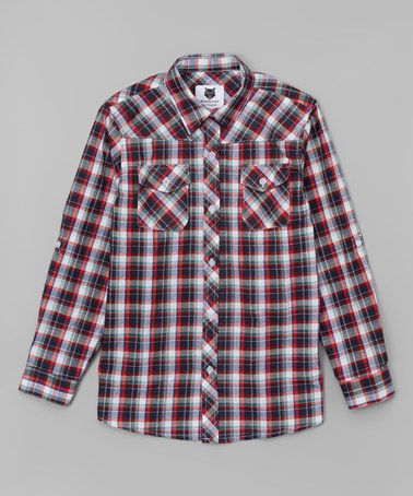 Loving this Red & Blue Plaid Long-Sleeve Button-Up - Boys on #zulily! #zulilyfinds