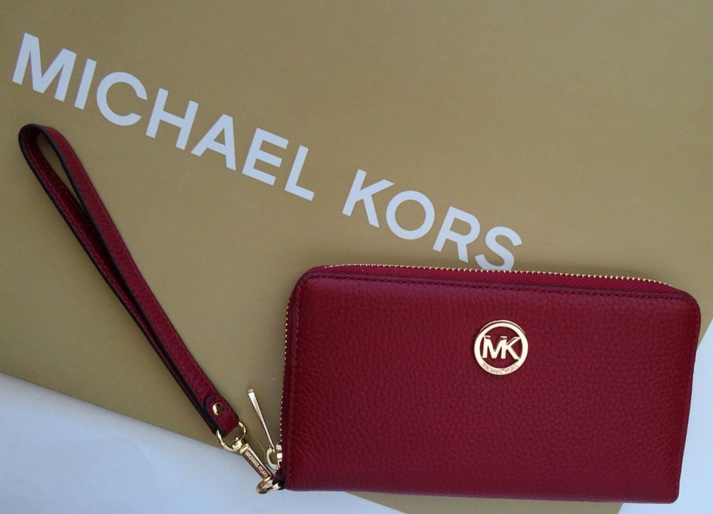 8cf992cdca12 Michael Kors Fulton Large Flat MF Phone Case Cherry Red Leather NWT # MichaelKors #MultiFunctionPhoneCase