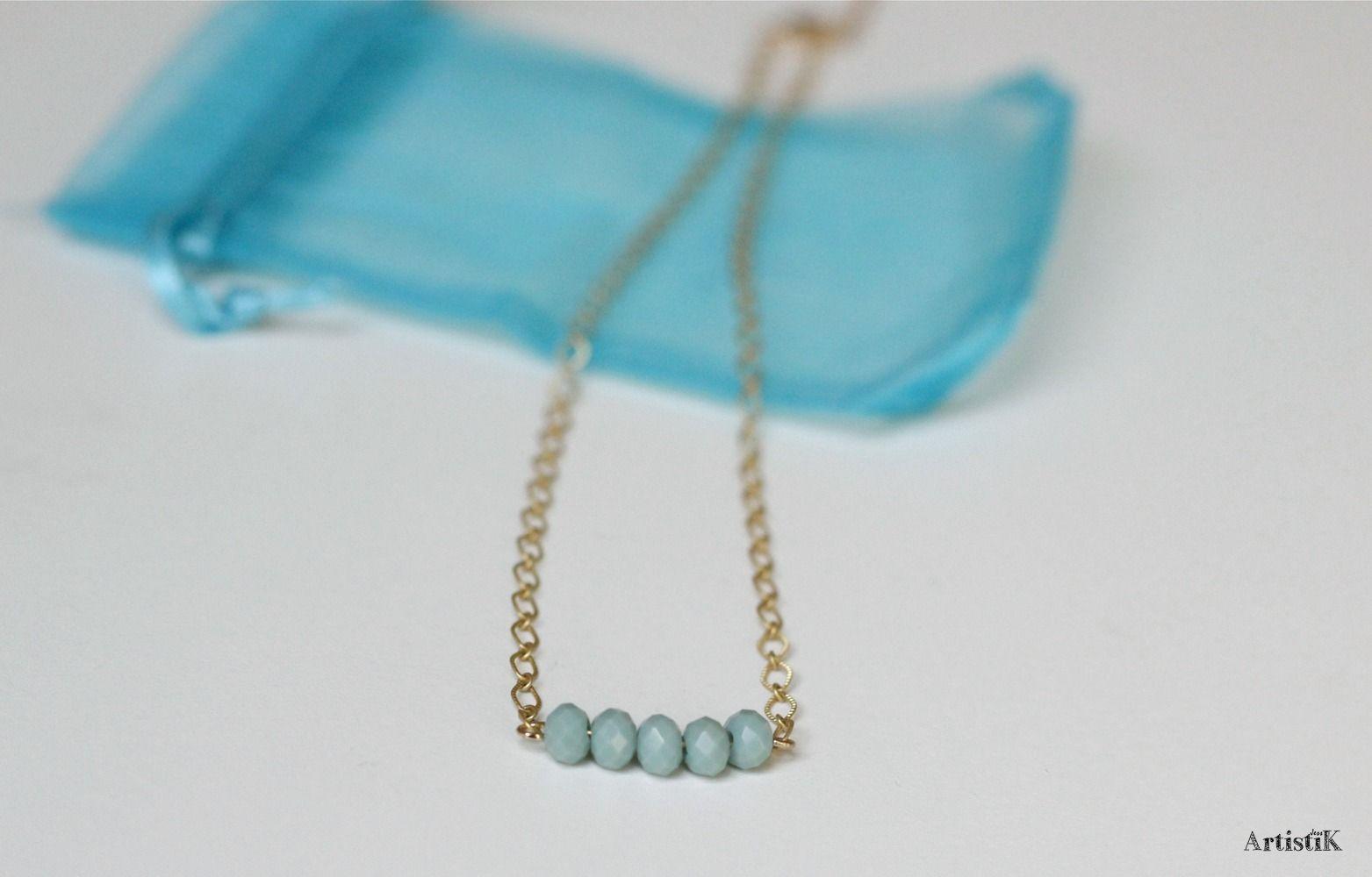 2f88174a96d Collier doré turquoise pastel perles pompon bleu canard féminin   Collier  par artistik