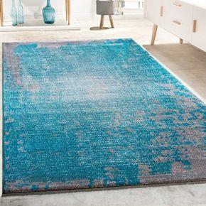 Designer Teppich Vintage Grau Türkis Wohnzimmer Vintage Teppich