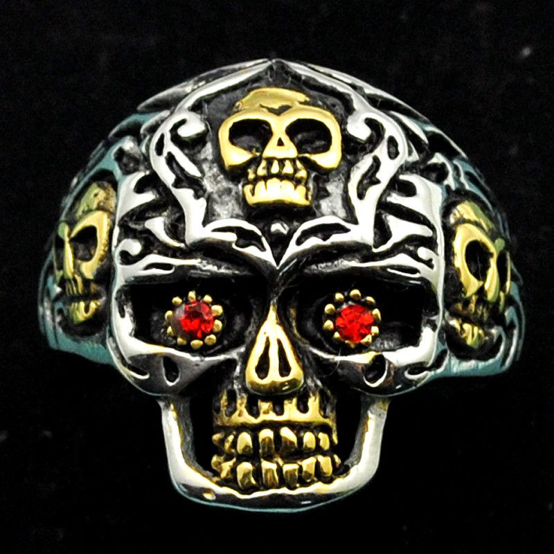 Cool Rhinestone Skull Pattern Rings For Men 316L Stainless Steel Fashion Hip Hop Punk Style Biker Jewelry Party Gifts HR413