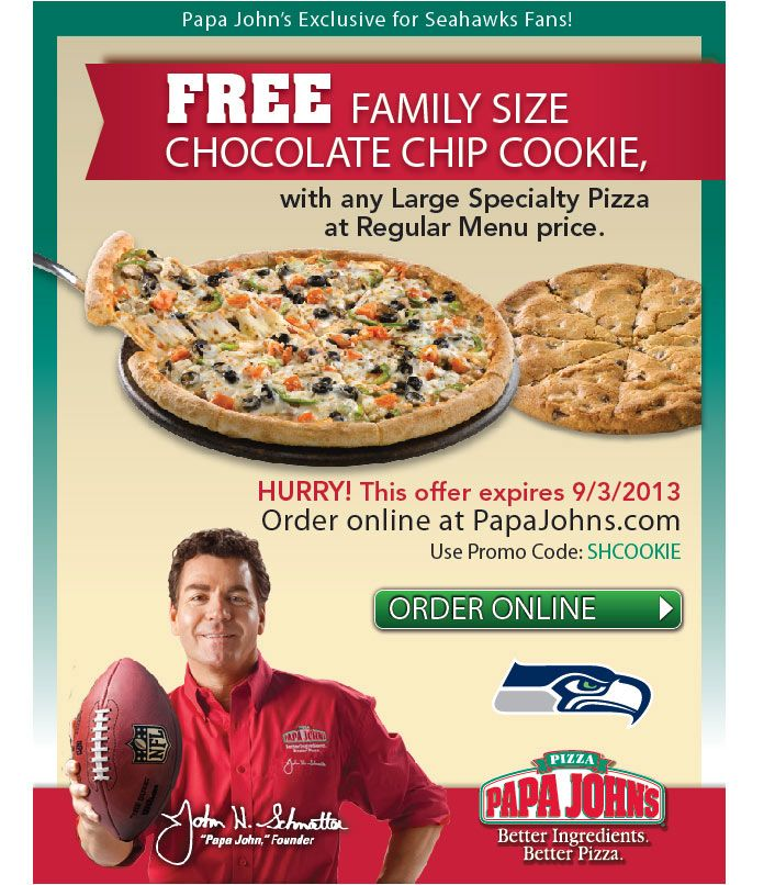Papa John's and Seattle Seahawks email for free family