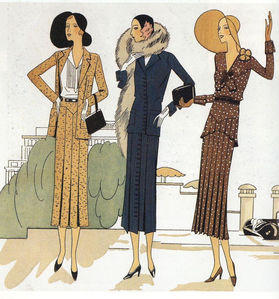 Những thiết kế năm 1930s cho thấy đường eo của trang phục đã được đưa lên cao hơn (higher waits line) , họa tiết in hoa (flower prints fabric), xếp ly (fleat), chia mảnh (panels) và lông thú (fur)... cũng được sử dụng để thiết kế trang phục, hình dáng áo cũng nữ tính hơn nhờ sự hỗ trợ của chiếc áo nịt ngực kiểu thắt lưng (girdles)