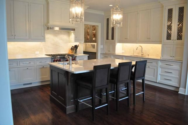 White Kitchen Espresso Island gorgeous two-tone kitchen design with floor to ceiling white