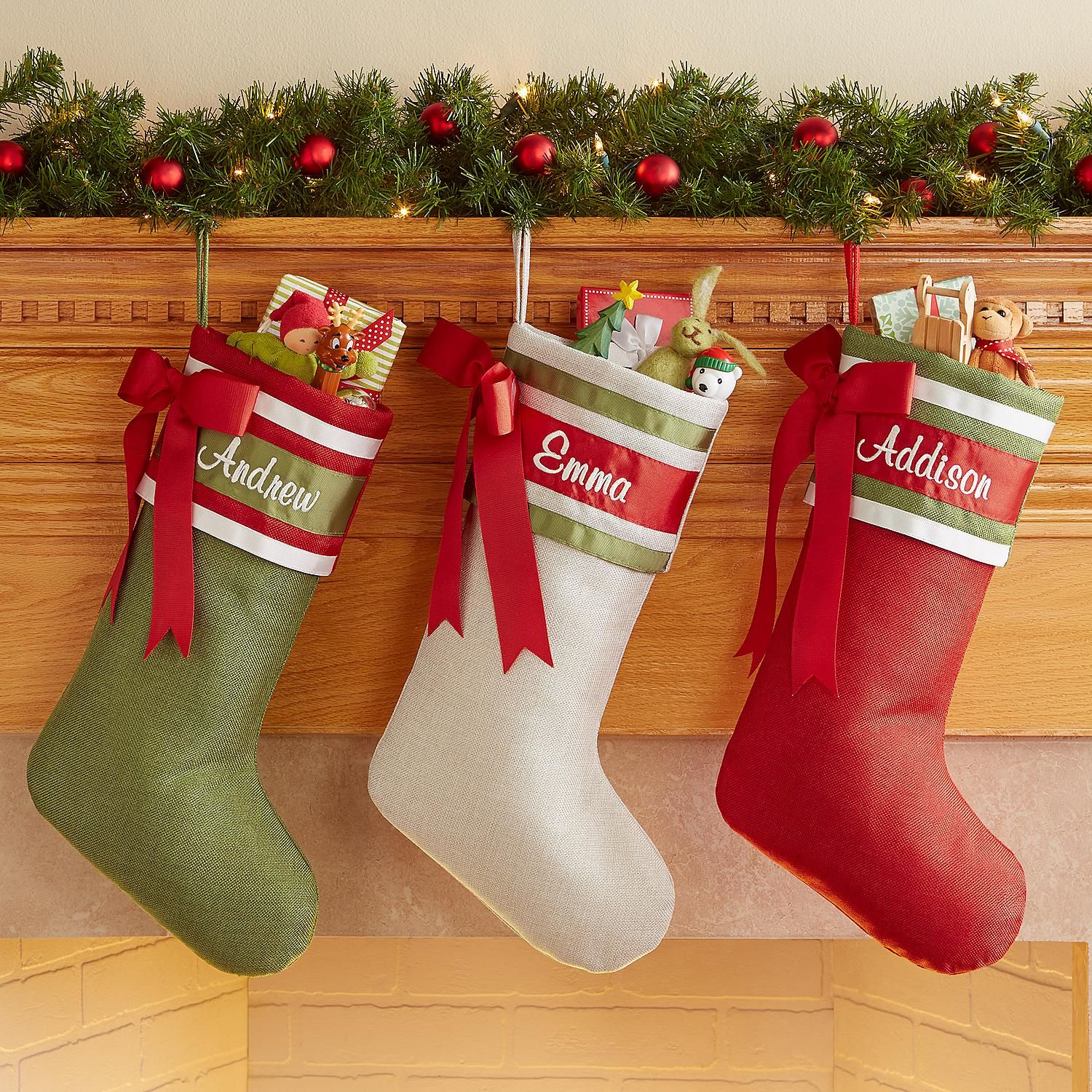 Elegant Grosgrain Ribbon Christmas Stocking