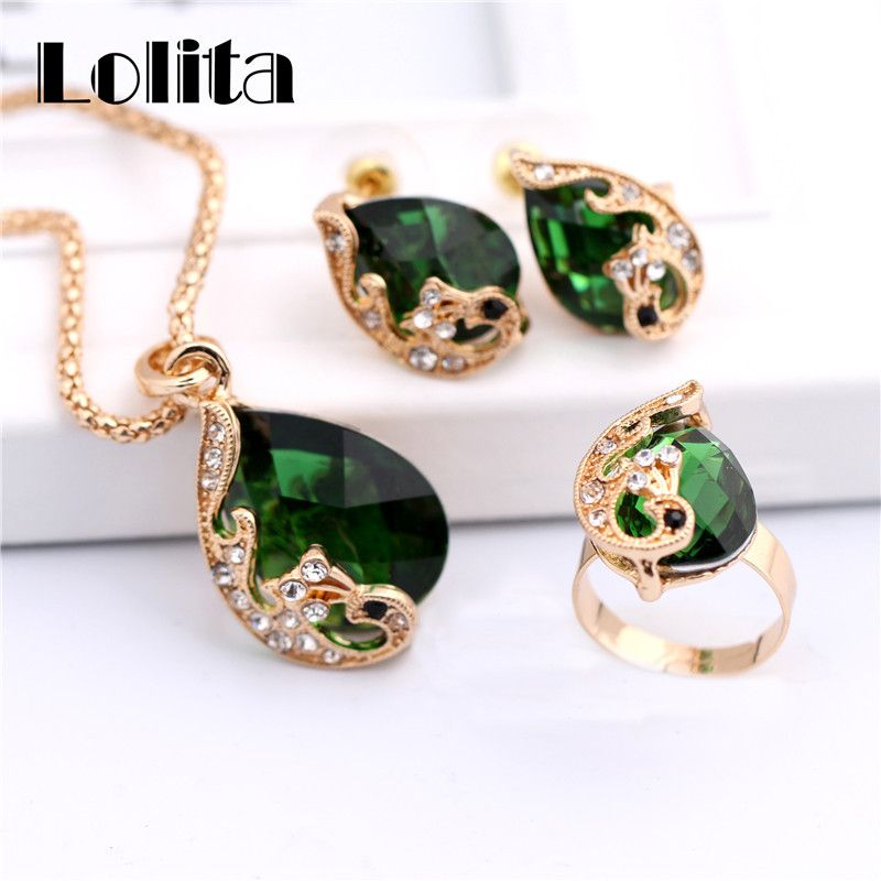 New Fashion 18k Gold Plated Jewelry Water Drop Crystal Peacock