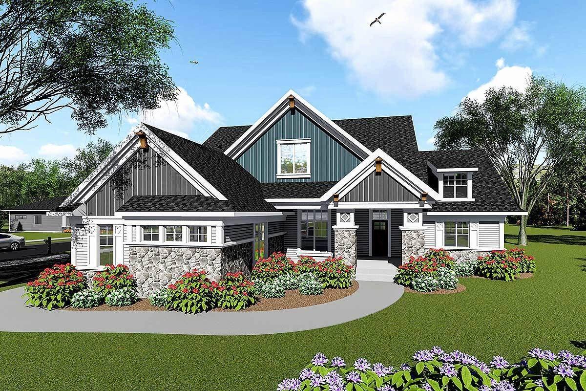 Large 3 Bedroom House Plans Inspirational Split Bedroom Craftsman House Plan Ah In 2020 Ranch Style House Plans Craftsman House Plans Craftsman House