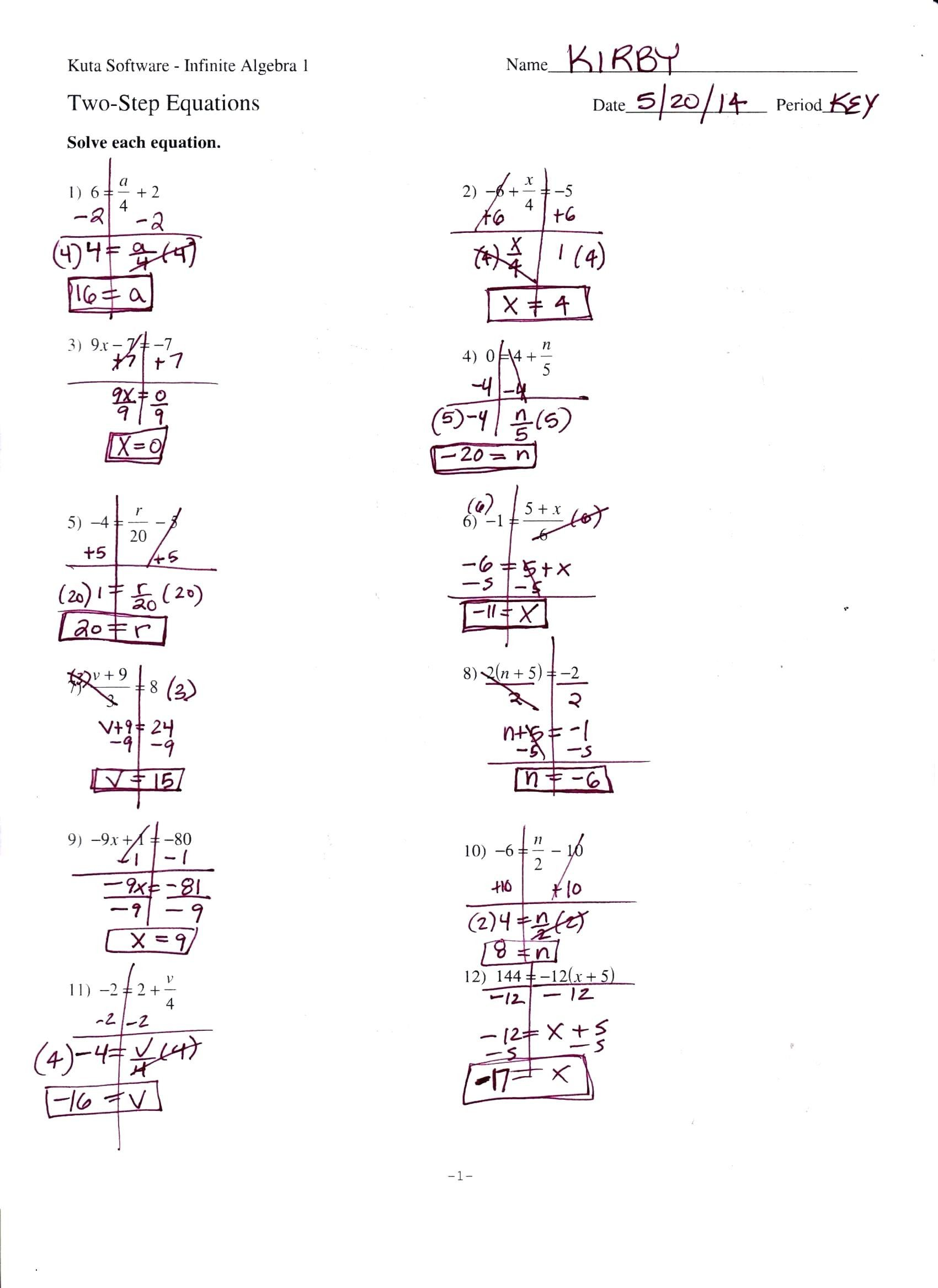 Two Step Equations Word Problems Worksheet Literal