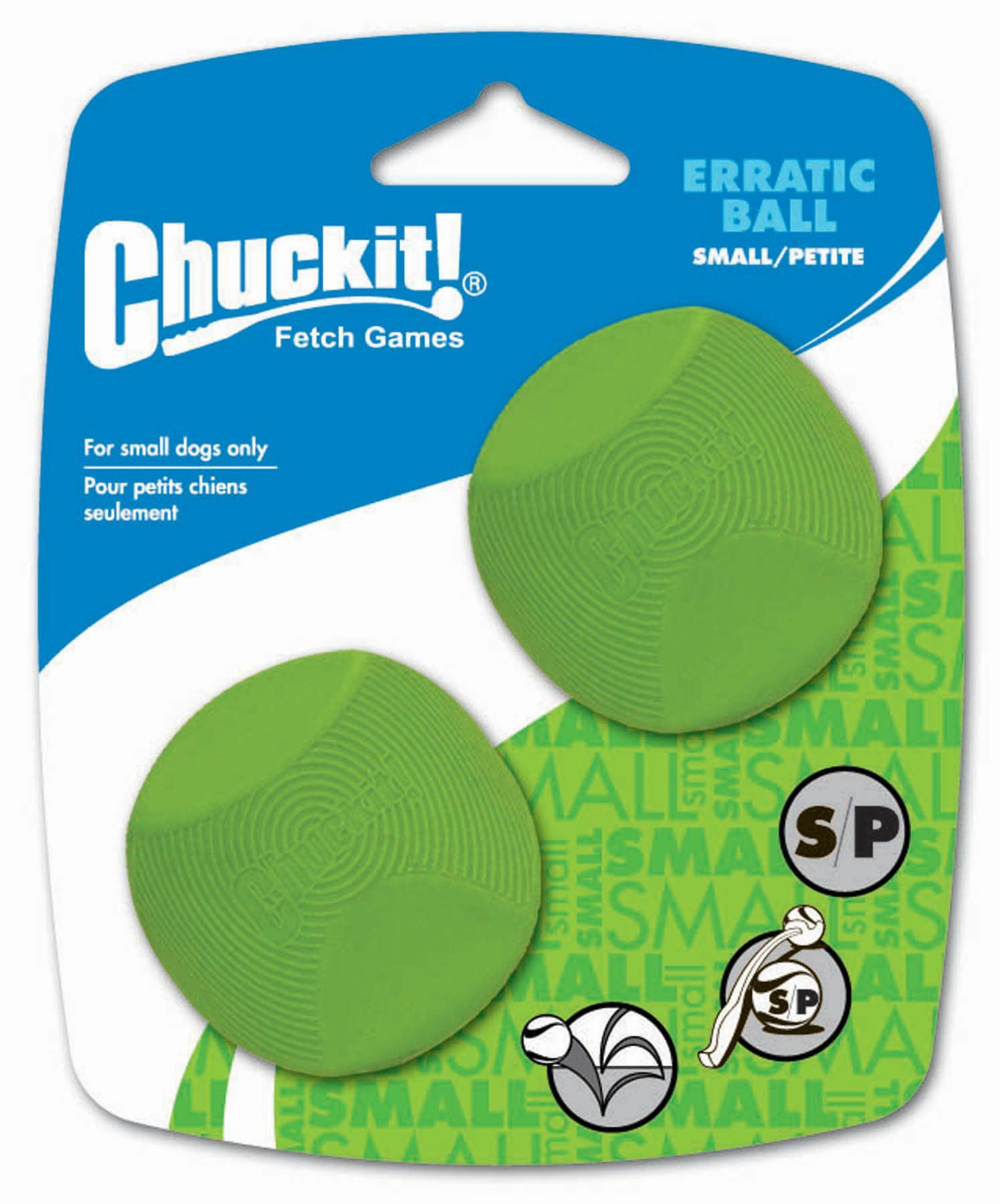 Small Dog Toys Chuck It Petmate Erratic Ball Small 2inch 2pack