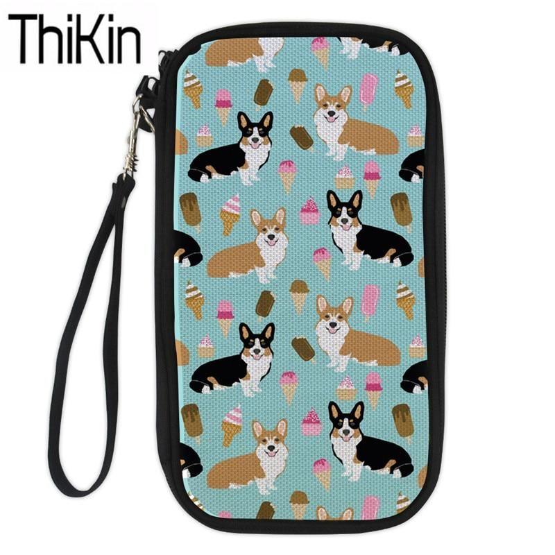 Luggage & Bags Thikin Large Capacity Travel Passport Cover Women Cute Corgi Printing Clutch Credit Card Holder Passport Wallet Purse Money Bag