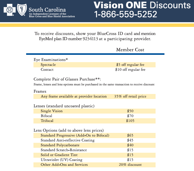 Vision One Eyecare Program Bcbs Of Sc Members Can Take Advantage Of This Free Discount Program Eye Care Bluecross How To Plan