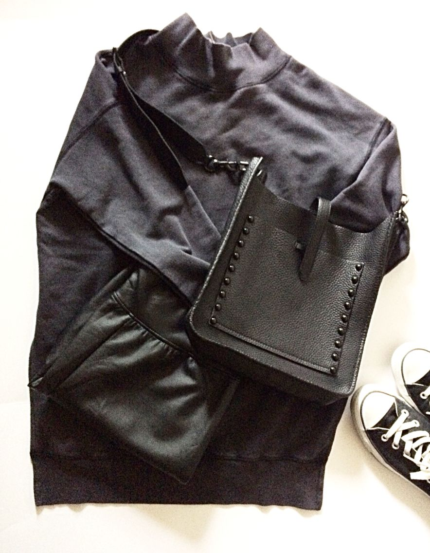 All black everything... faux leather leggings + mock tunic sweater + converse