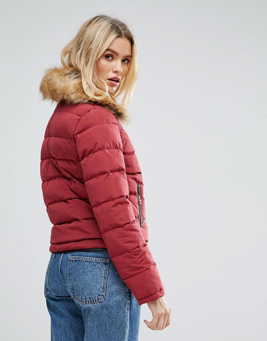 Parisian Padded Jacket With Faux Fur Collar S