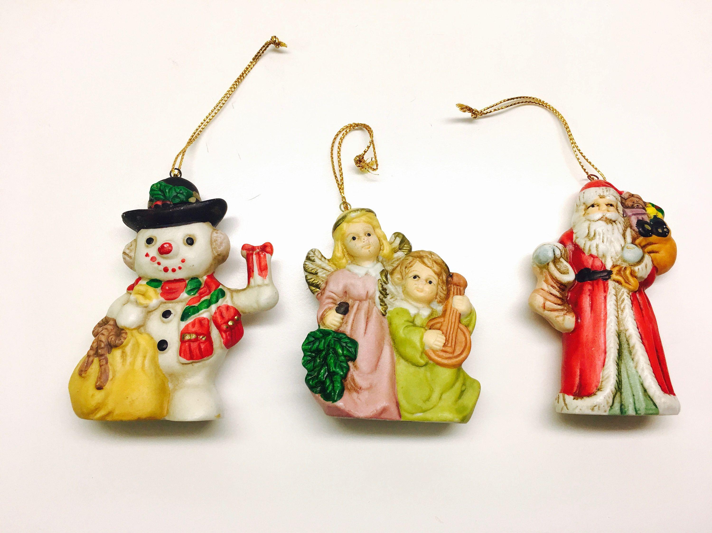 3 x Vintage Porcelain Christmas Decorations Hand-painted