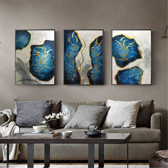 b793d8352c3e 3 pieces gold leaf abstract painting on canvas wall art picture for living  room home wall decor orig