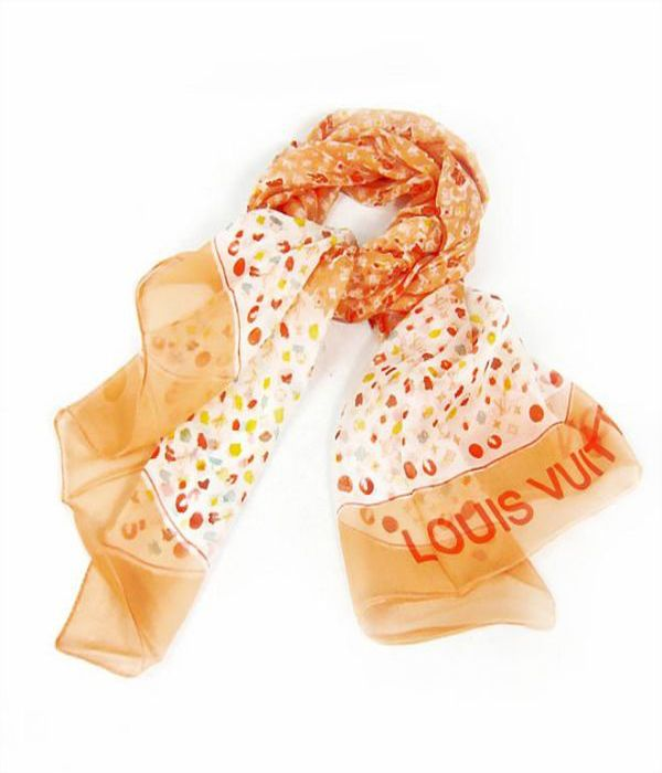 orange white scarf for day look by Louis Vuitton