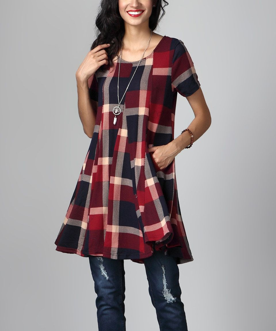 683a0bdfd7f This Red & Navy Plaid Swing Tunic Dress by Reborn Collection is perfect!  #zulilyfinds