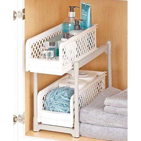 2-Tier Sliding Bathroom Storage Shelf - Walmart.com