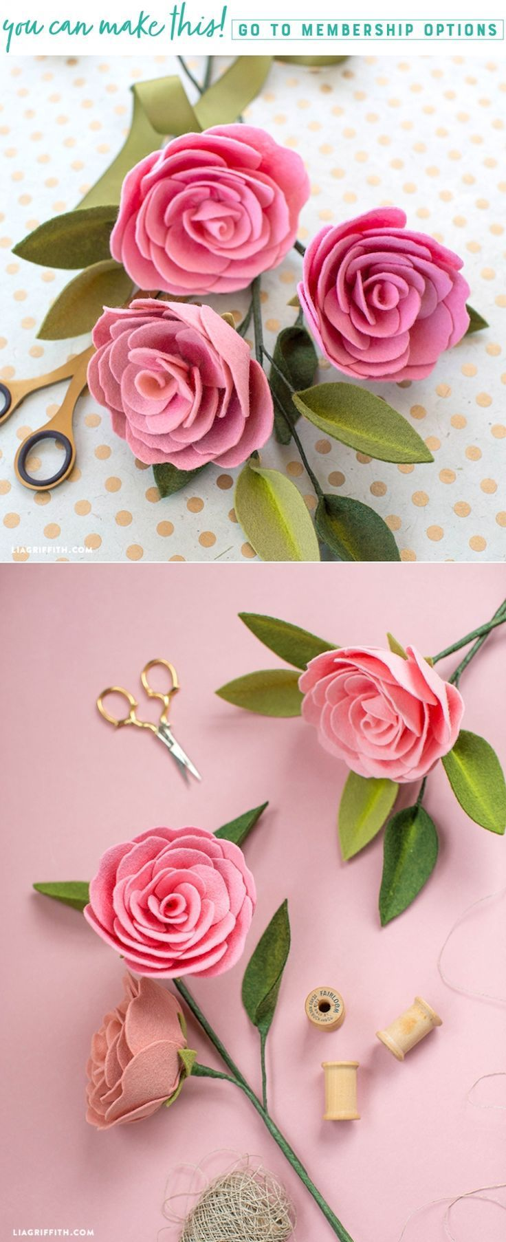Create a Camellia DIY Felt Flower with Pan Pastel Details #feltflowertemplate This gorgeous Camellia is the latest addition to our DIY felt flower projects. Pan Pastels give these flowers a realistic depth. #feltflowertemplate