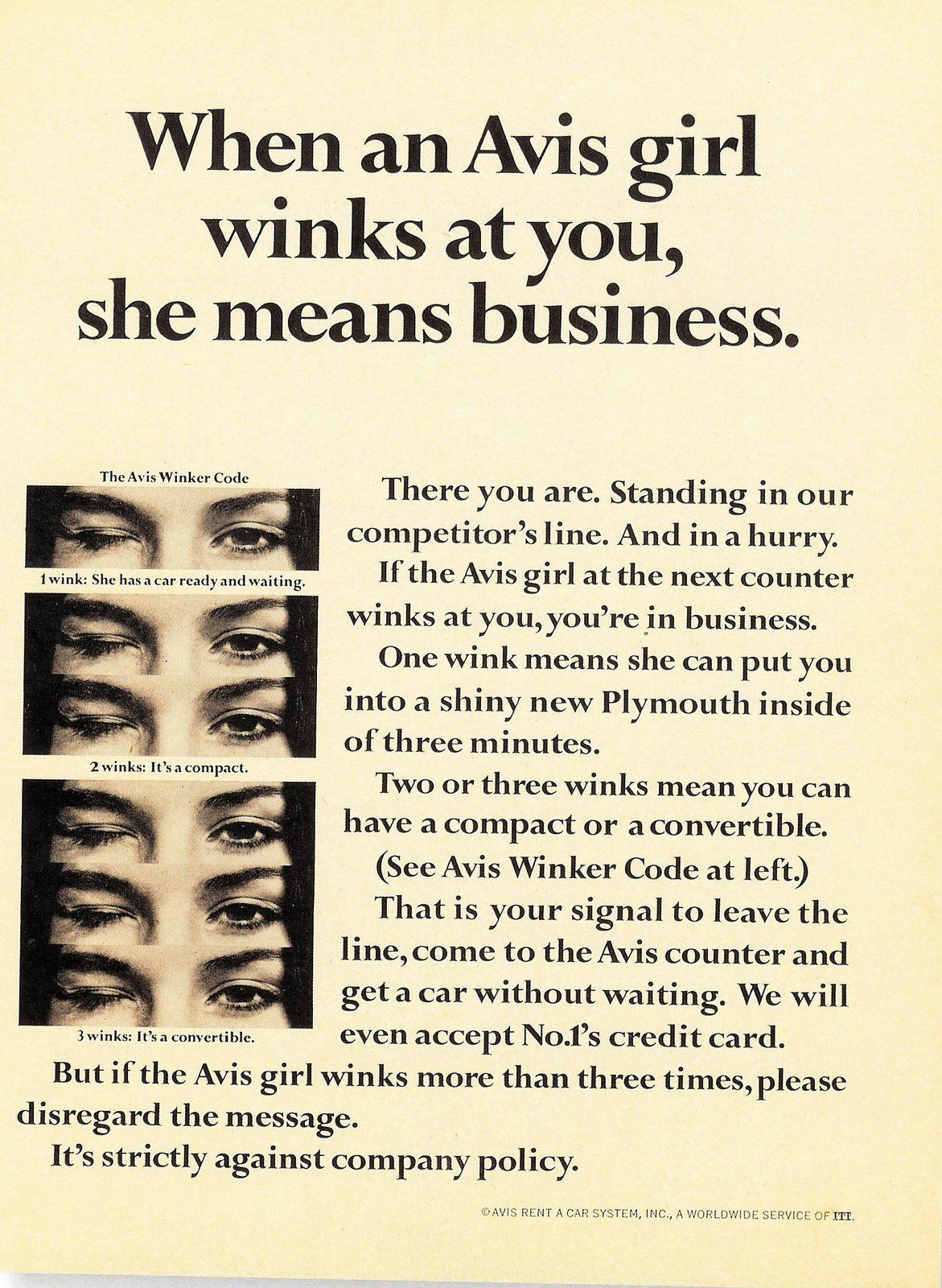 Avis  More Than  Winks Is Against Company Policy  Retro