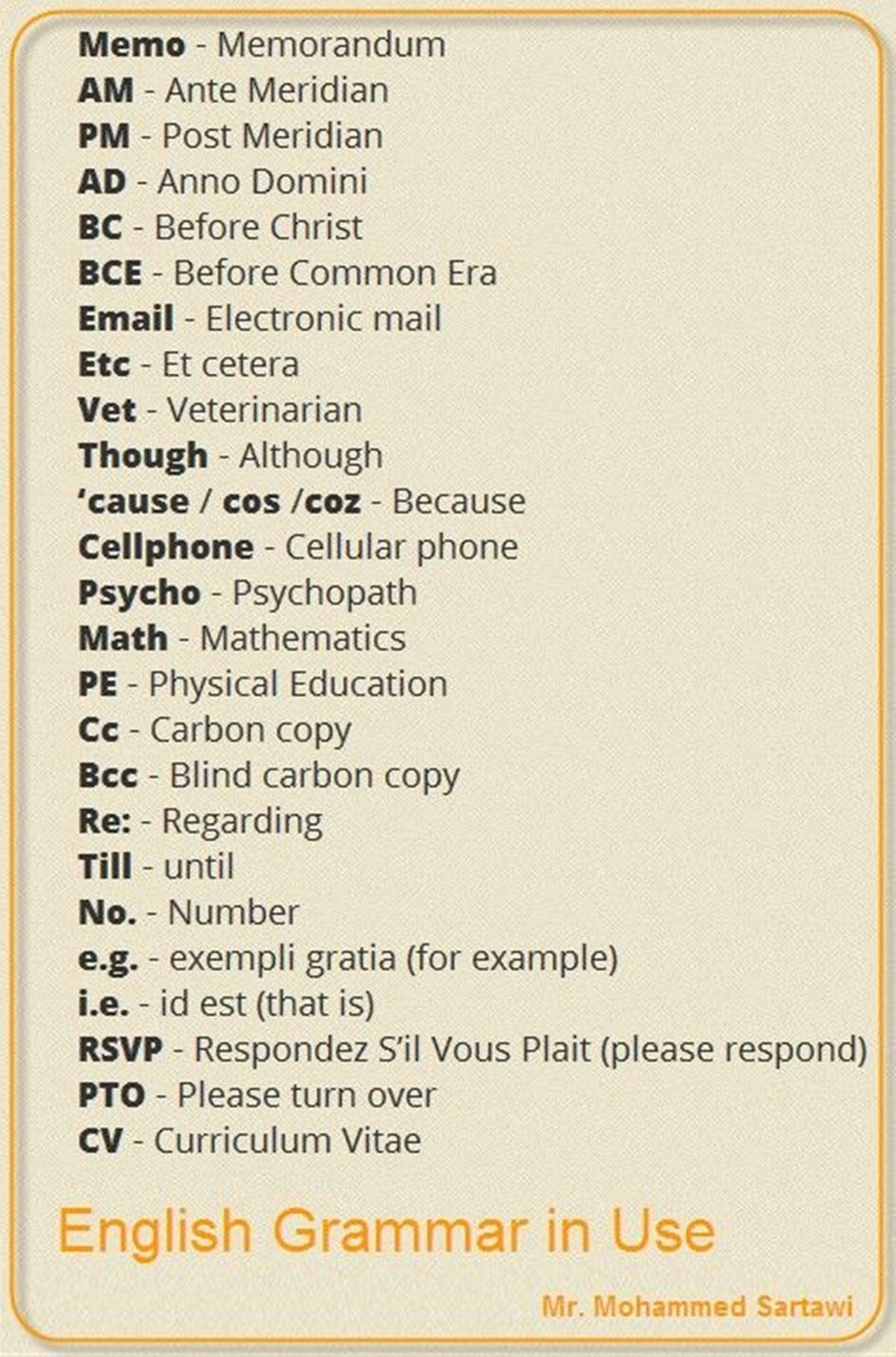 Forum Abbreviations In English Fluent Land