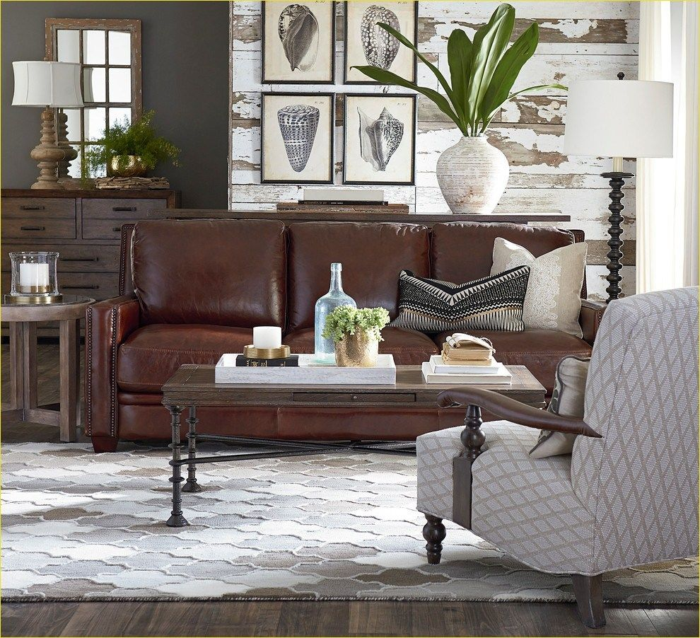 modern farmhouse living room with leather sofa 43 - Daily ...