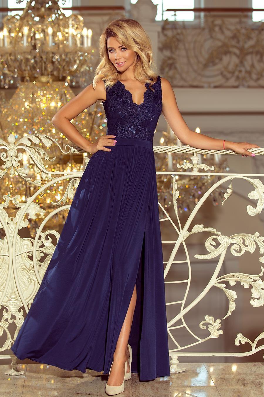 Dluga Sukienka Z Koronkowa Gora Granatowa Nu215 2 Sleeveless Long Dress Long Blue Maxi Dress Embroidered Maxi Dress