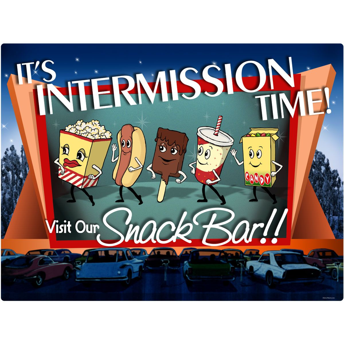 Theater Room Snack Bar: Intermission Time Snack Bar Wall Decal