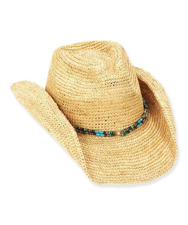 Another great find on #zulily! Natural & Turquoise Raffia Straw Western Hat by Sun 'N' Sand #zulilyfinds