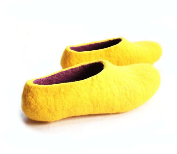 018849f7b0aa Felt slippers Purple and Yellow Minimalist. Contrast Color. In case of Cold  Feet. Eco friendly. Custom made WOMENS sizes