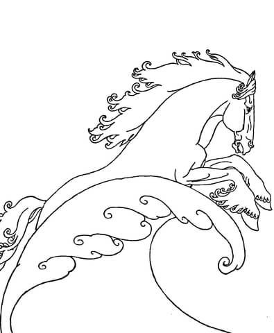 Neptune S Sea Horse Coloring Page Horse Coloring Pages Horse