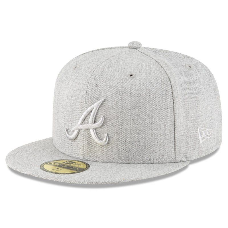 low priced 210e9 2c429 Atlanta Braves New Era Twisted Frame 59FIFTY Fitted Hat - Gray
