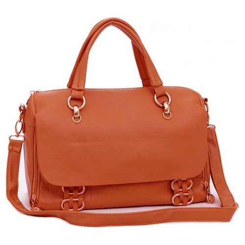 Eriko - Womens fashion #orange #shoulderbags with gold tone hardware decoration