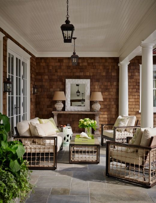 exciting home and garden party. Rope accented patio pieces look fresh and exciting on the shingled  Traditional Home like furniture I Went to a Garden Party Pinterest