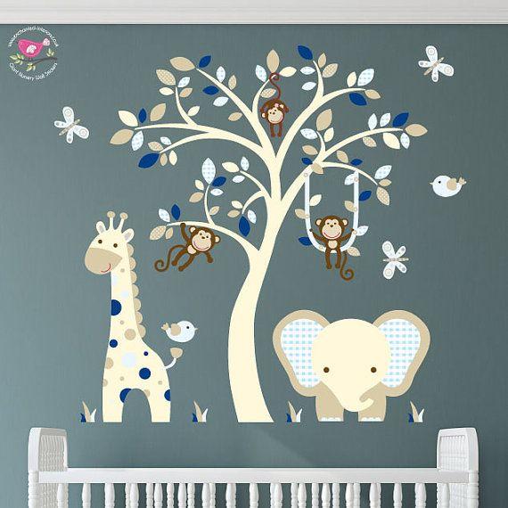elefanten und giraffen wandtattoo kinderzimmer marineblau und - Kinderzimmer Dekoration In Schulen