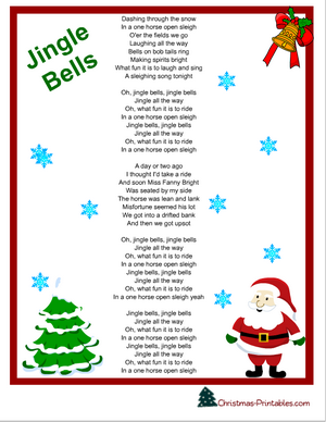 image regarding Jingle Bells Lyrics Printable referred to as no cost printable jingle bells carol lyrics Xmas Tunes