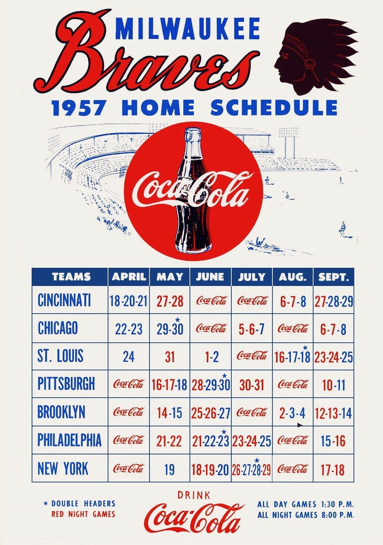 1957 Milwaukee Braves Home Schedule Milwaukee Braves Baseball History