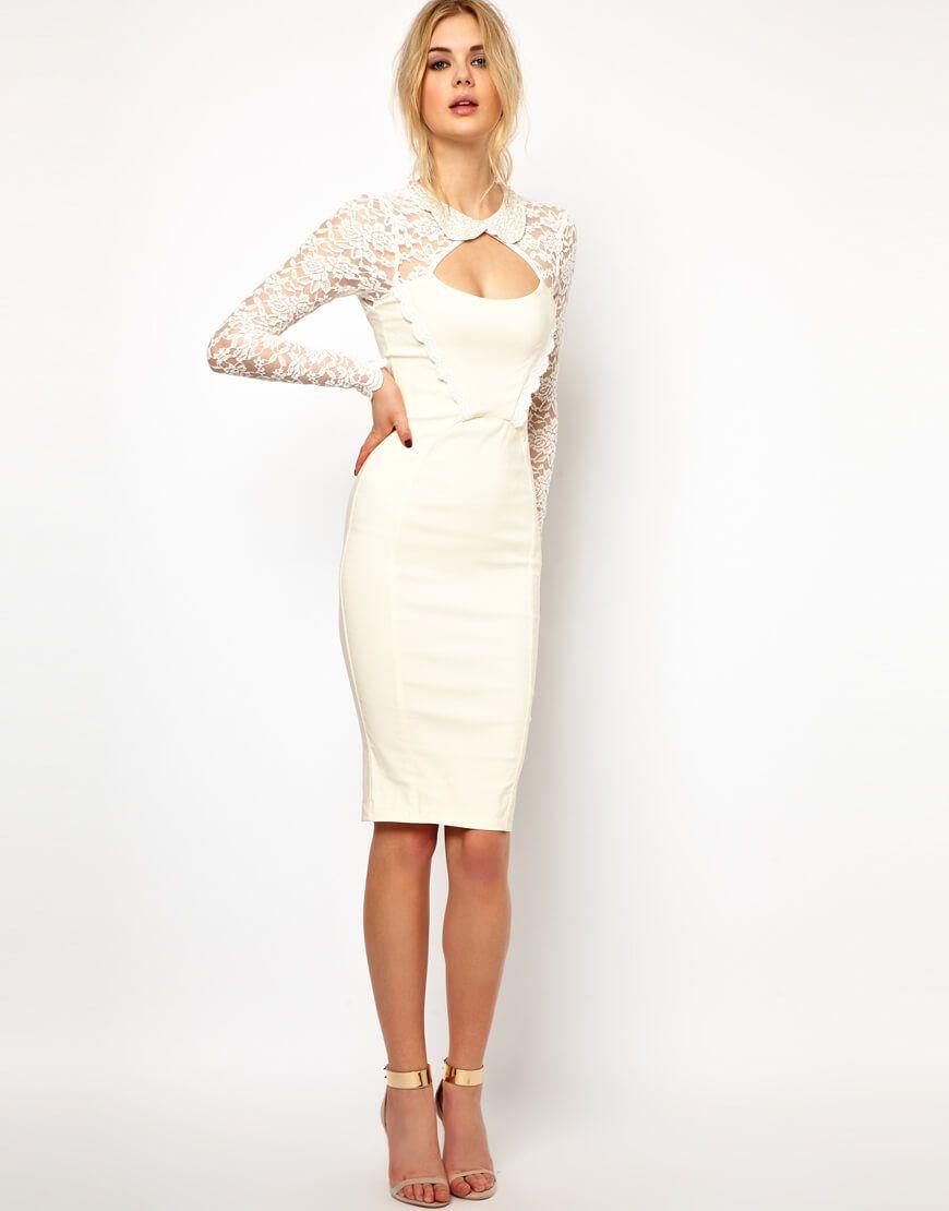 Белое платье-футляр (91 фото)  с чем носить, на свадьбу, с кружевом,  классическое d77cb82bc21