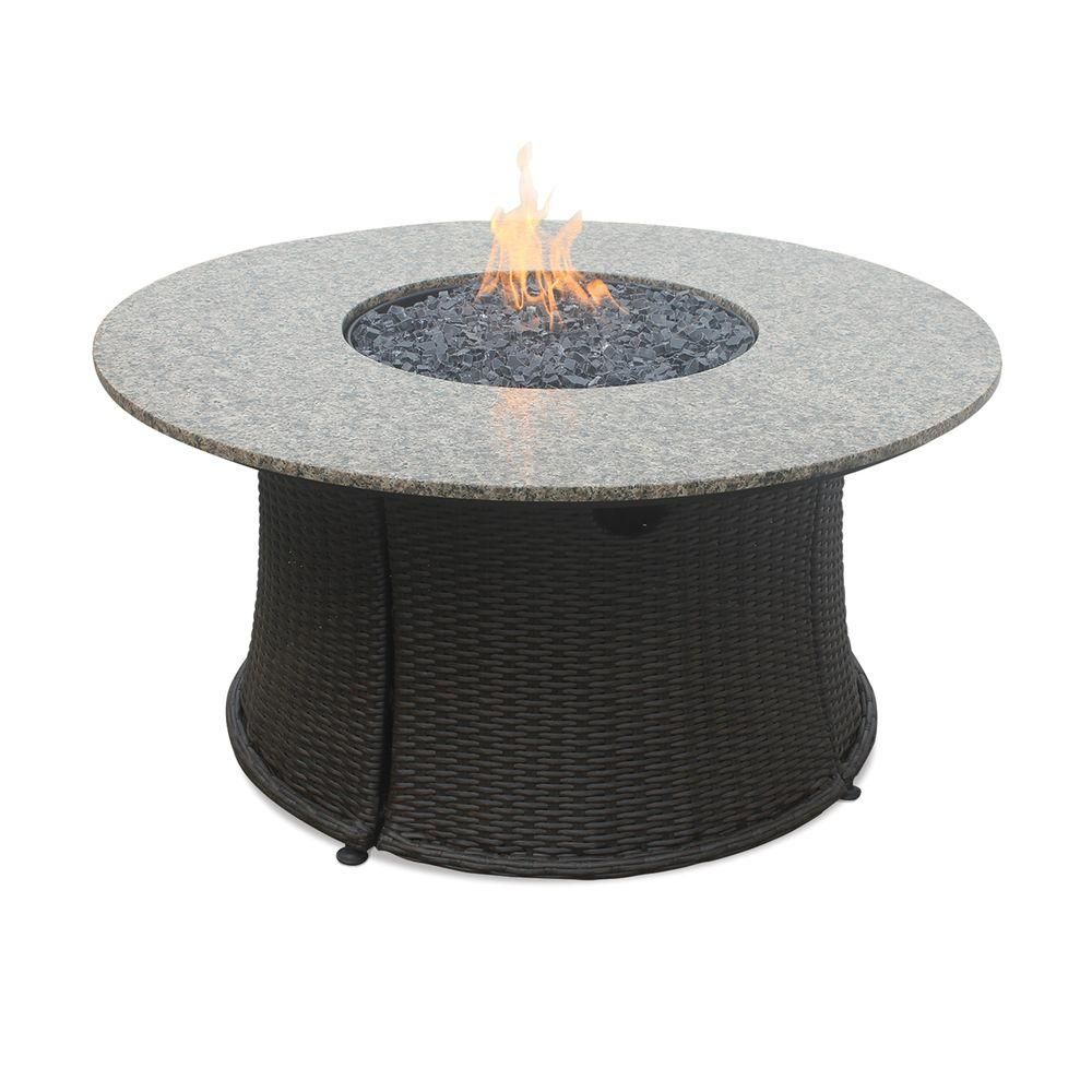 Endless Summer 43 In Lp Fire Pit With Granite Mantel And Faux Wicker Base