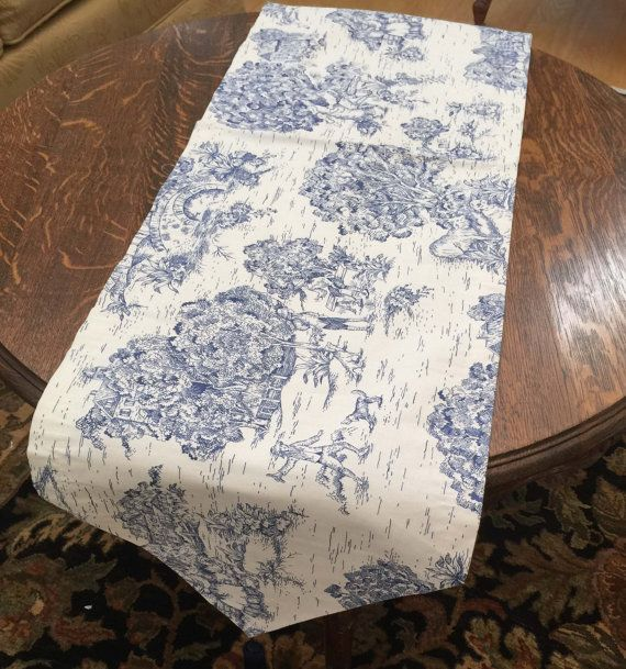 French Toile Table Runner with Tassels Burgundy Print on Khaki Vintage French Country