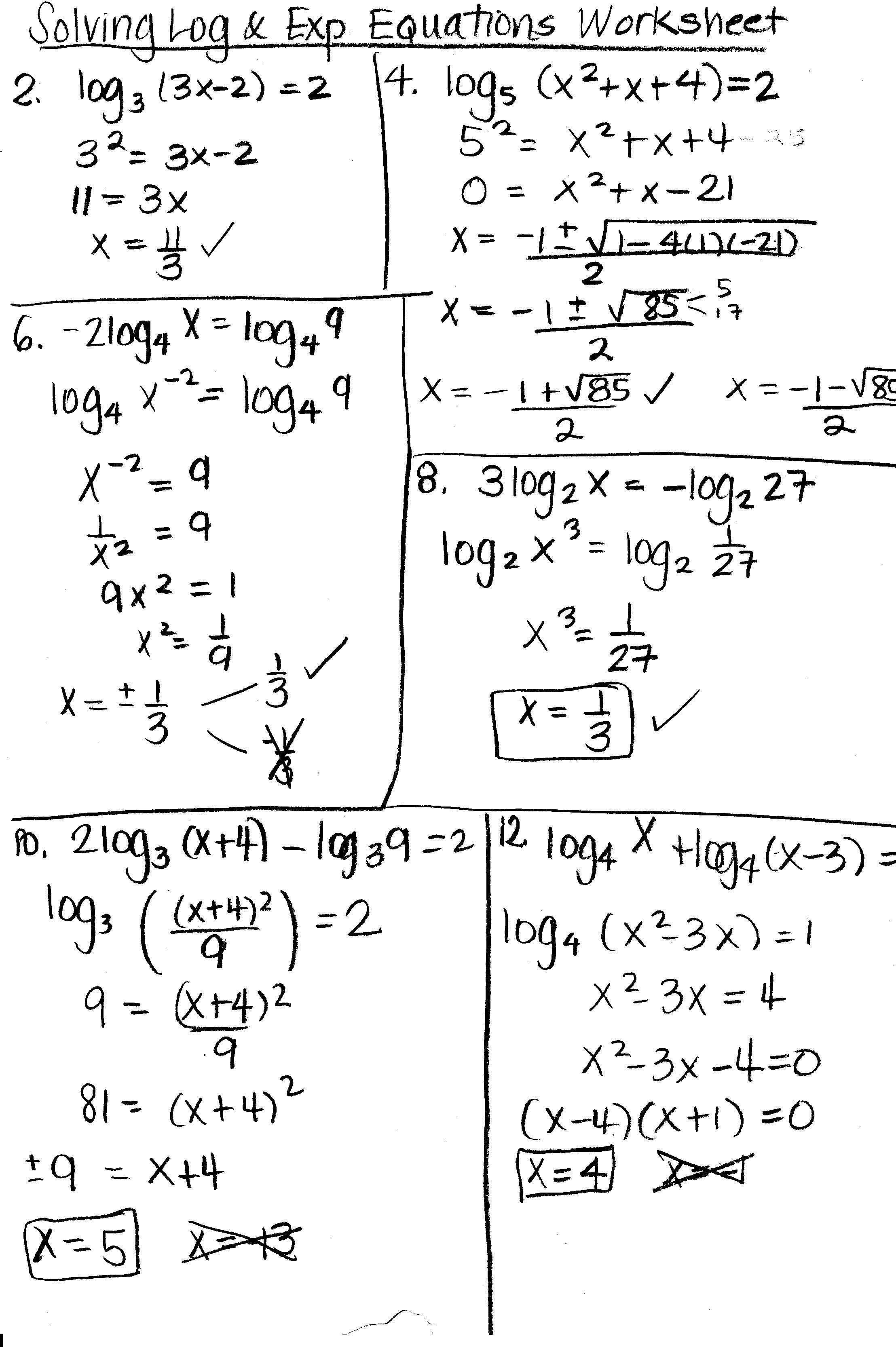 Solving Logarithmic Equations Worksheet Dengan Gambar