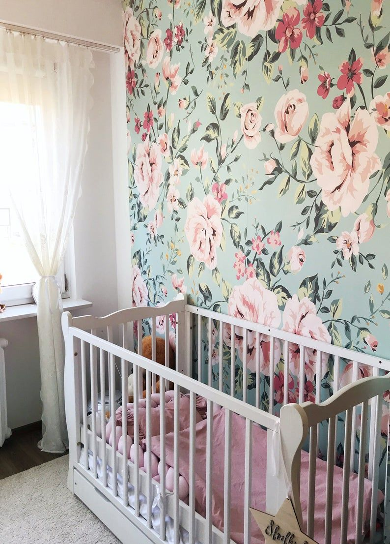 Nursery Floral Wallpaper Vintage Wall Mural Pastel Roses Baby Wallpaper Kids Room Pale Wall Mural Reusable Wallpaper 20 In 2021 Floral Wallpaper Nursery Floral Wallpaper Floral Nursery