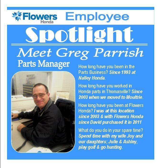 #EmployeeSpotlight Meet Greg Parrish, Parts Manager For Flowers Honda.
