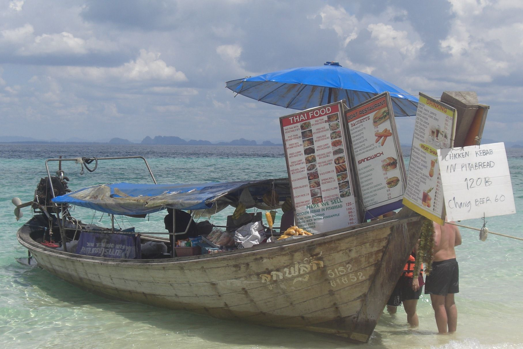 One Of Many Floating Food Stalls In Poda Island Krabi